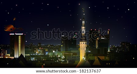 abstract black background with stars and cityscape of Tallinn