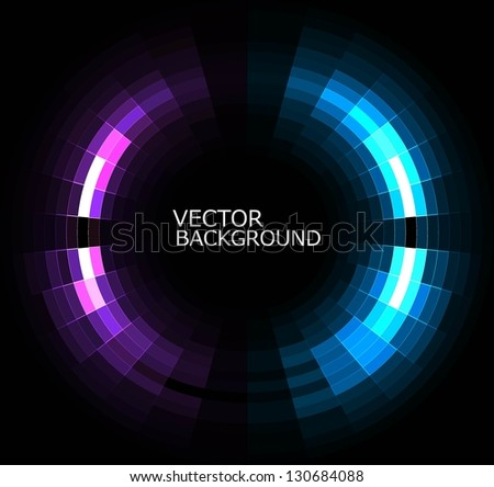 abstract black bright colorful mosaic circle background vector - stock vector