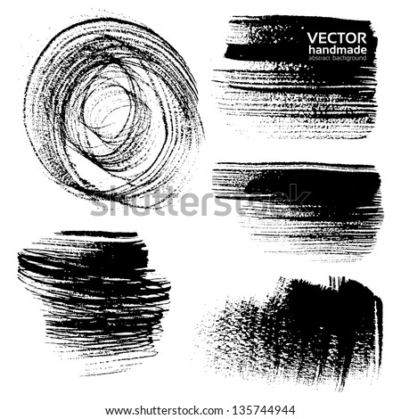 Abstract black brush strokes on white background - stock vector