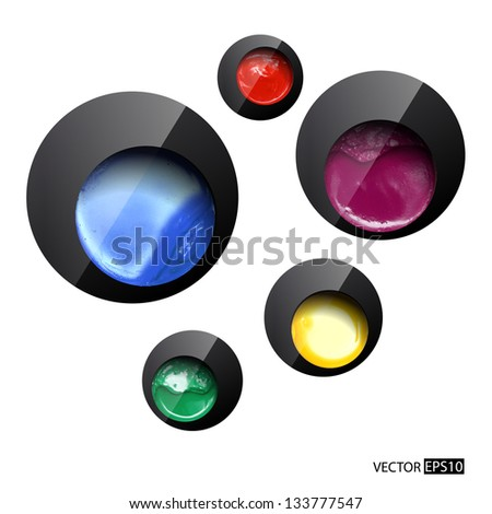 Abstract black design with paint cans. Vector illustration.