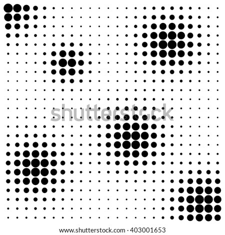 Abstract black dots halftone splots on white background