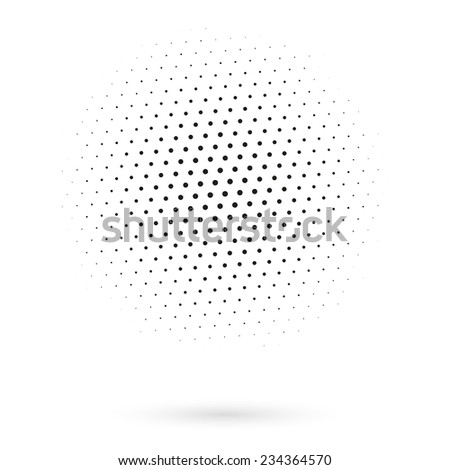 Abstract black dotted sphere on white background - stock vector