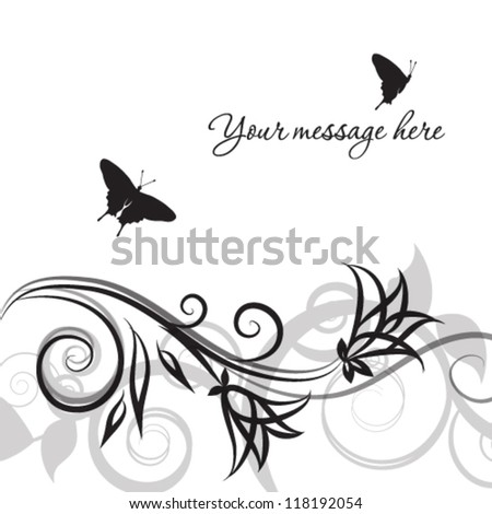 Abstract black floral background - stock vector