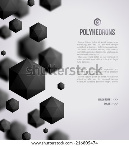 Abstract black geometric shapes on bright background. Vector illustration. Polyhedrons. Crystals. Technology or scientific backdrop. Can be used as Black Friday flyer template. - stock vector