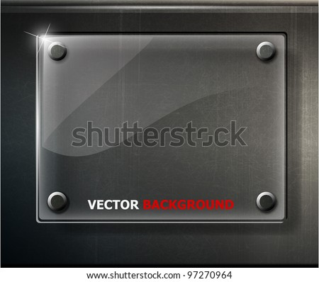 abstract black glossy plate on metal grid. vector illustration - stock vector