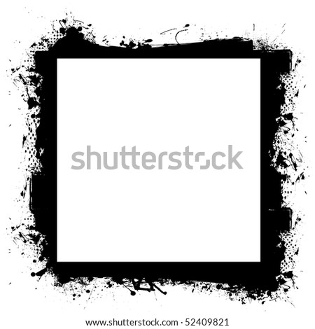 Abstract black grunge border frame with room to add your own photograph - stock vector