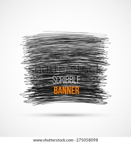 Abstract black hand-drawn scribble banner. Vector illustration - stock vector