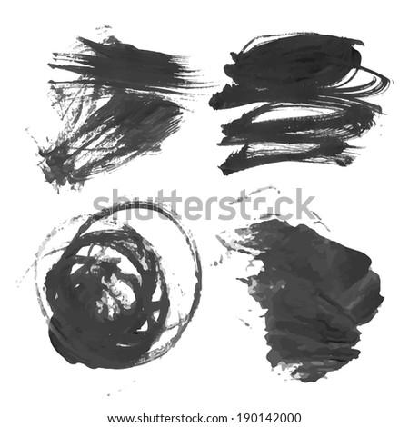 Abstract black liquid paint smears 1 - stock vector