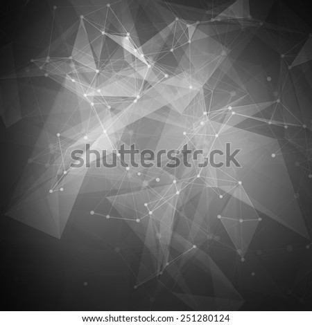Abstract black low poly bright technology vector background. Connection structure. Vector data science background. Polygonal vector background. Molecule And Communication Background. - stock vector