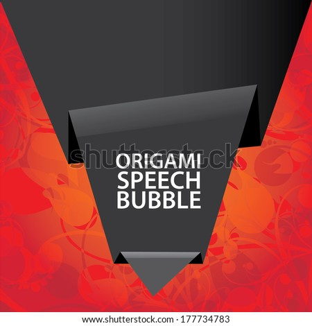 Abstract Black Origami Paper Banner On Red Floral Background Vector Speech Bubble