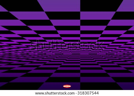 abstract black purple chess board with perspective with reflection isolated on black background. vector illustration - stock vector