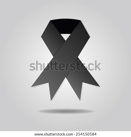 Abstract black ribbon on gray gradient background - stock vector