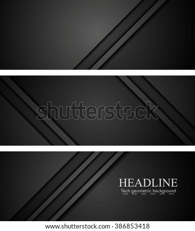 Abstract black tech concept banners. Vector illustration design - stock vector