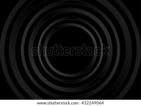 Abstract black technology rings graphic design. Vector dark brochure background - stock vector