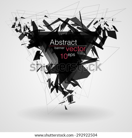 Abstract black triangle banner explosion. Vector illustration. - stock vector