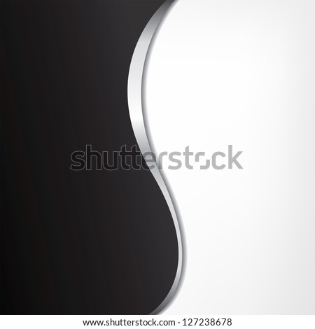 Abstract black-white background with metallic line - stock vector