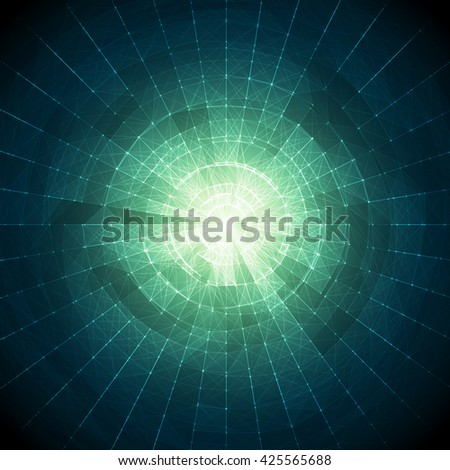 Abstract Blue and Green Vector Mesh on Colorful Background - Futuristic UX Background - Elegant Background for Business Presentations - stock vector