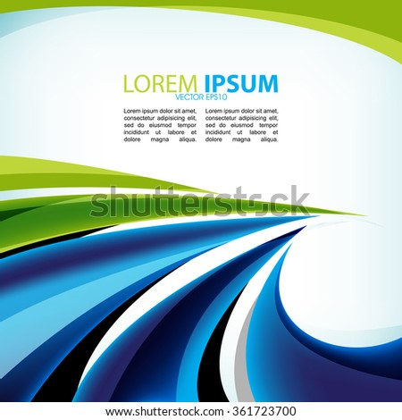 abstract blue and green wave elements business background - stock vector