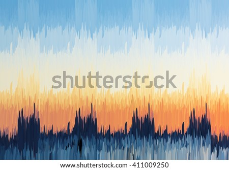 Abstract blue and orange sky.Mosaic background. Abstract nature backdrop. Oil painting simulation with mosaic elements. - stock vector
