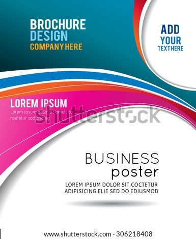 Abstract blue and red background with wave - brochure design or flyer - stock vector