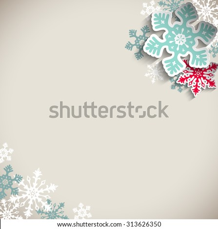 Abstract  blue and red snowflakes on beige background with 3D effect, winter concept, vector illustration, eps 10 with transparency - stock vector