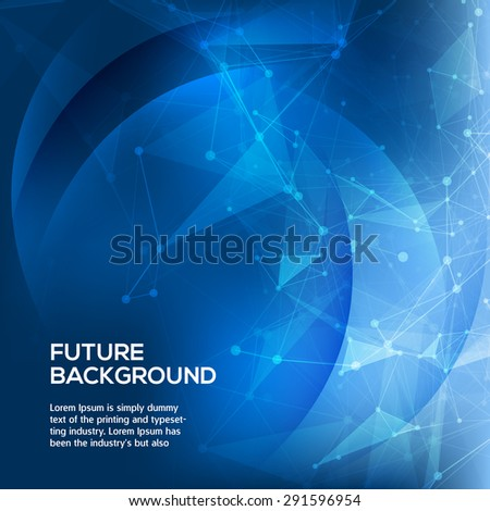 Abstract Blue Background. Abstract polygonal space low poly dark background with connecting dots and lines. Connection structure. Vector science background. Polygonal vector background. - stock vector