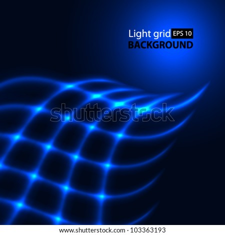 Abstract blue background. Glowing grid.