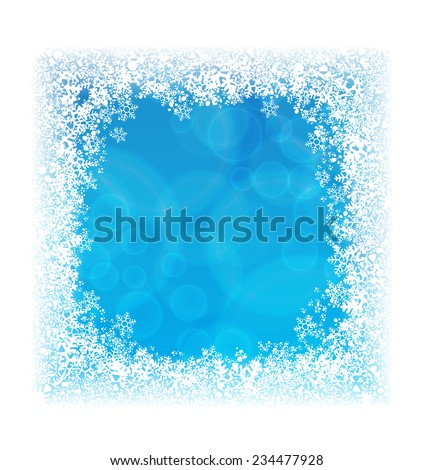 Abstract blue background in border of snowflakes - stock vector