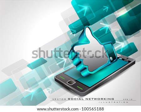 Abstract blue background with arrows, mobile and 3D thumb up icon or like button having shiny effect on white background and copy space. EPS 10, vector illustration. - stock vector