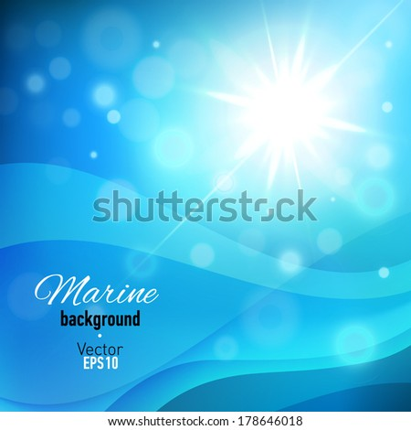 Abstract blue background with bokeh lights. Vector illustration.
