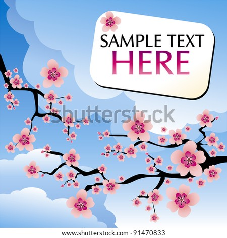 abstract blue background with cherry blossom and text - stock vector
