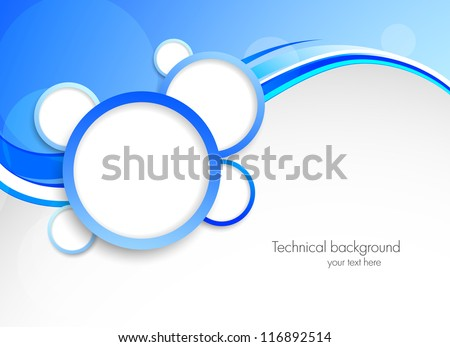 Abstract blue background with circles - stock vector