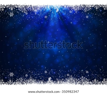 Abstract blue background with frame from snowflakes, illustration.