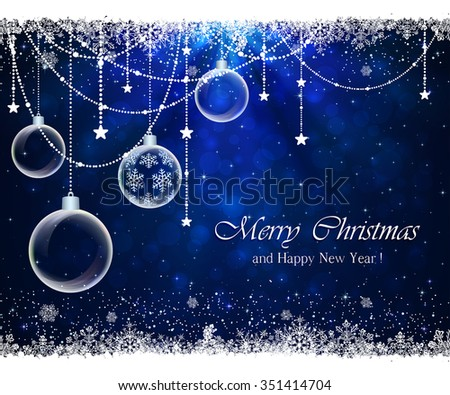 Abstract blue background with frame from snowflakes, stars and Christmas balls, illustration.  - stock vector