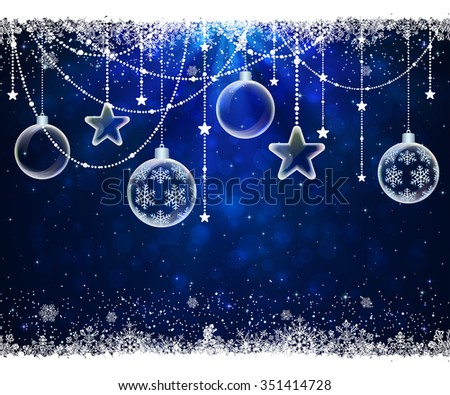 Abstract blue background with frame from snowflakes, transparent Christmas balls and stars, illustration.  - stock vector