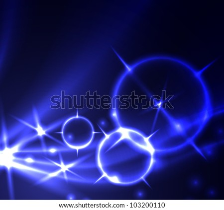 Abstract blue background with glowing lines and stars. EPS 10.