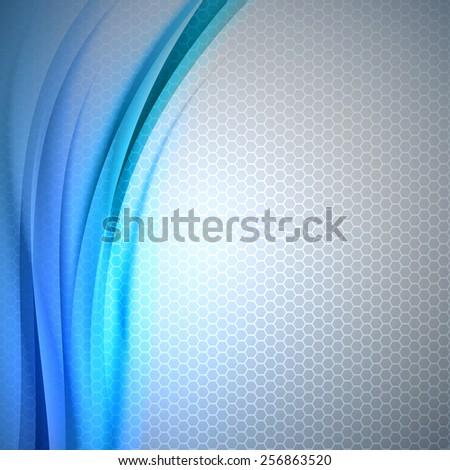 Abstract blue background with grey hexagon. Vector design. - stock vector