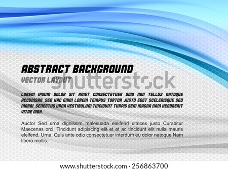 Abstract blue background with grey hexagon. Vector design. - stock vector