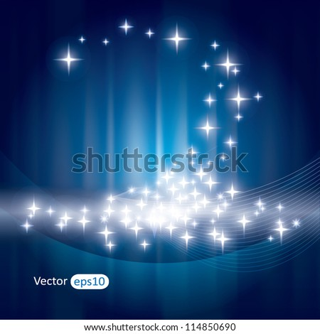 Abstract blue background with sparkles and rays - stock vector
