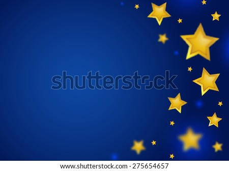 Abstract Blue Background with Stars Border. Falling Gold Stars with Bokeh. Magic Illustration for Party Invitations.