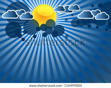 abstract blue background with sun rays and clouds - stock vector