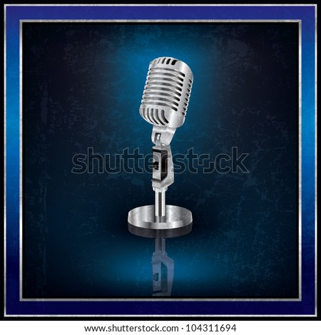 Abstract blue background with the retro microphone - stock vector