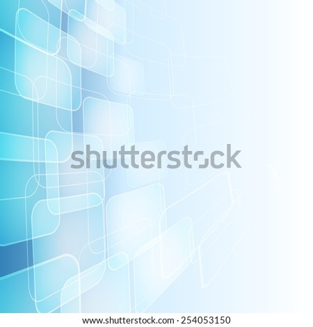 abstract blue background with transparent shapes - stock vector
