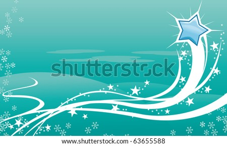 Abstract blue background with wave and star elements