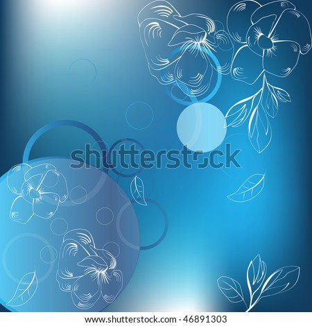 Abstract blue background  with white flowers