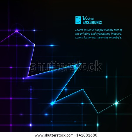 Abstract blue background. Zigzag stripe lines over dark background.  Vector illustration, contains transparencies and effects.