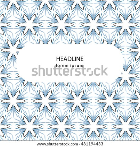 Abstract blue, black and white mandala, ornament, pattern background design with a space for writing your text. Vector illustration