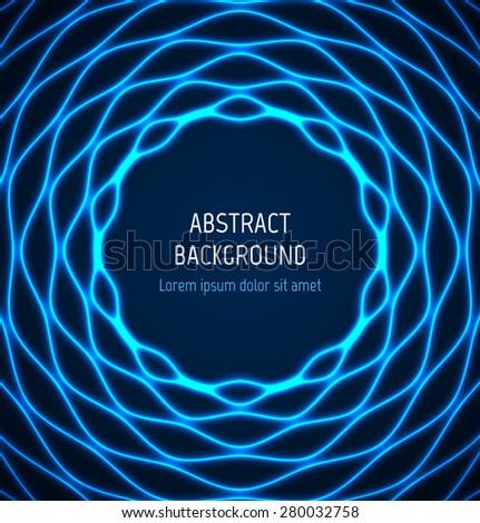 Abstract blue circle wavy border background with light effects. Vector illustration - stock vector