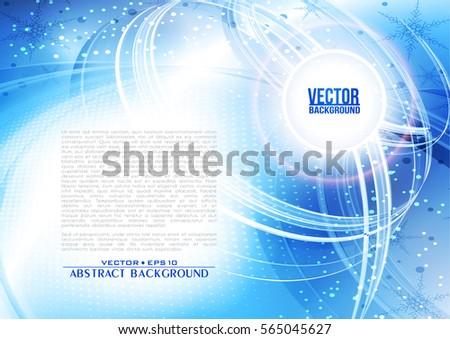 Abstract blue color background with lighting effect. Winter futuristic shiny card. Cover design template layout for corporate business book, booklet, brochure, flyer, poster. Vector