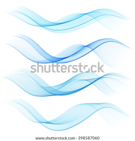 Abstract blue color wave design element. Set Blue wave - stock vector